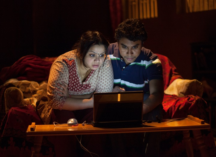Anusree Roy as Malini and Andrew Lawrie as Sharan in Anupama Chandrasekhar's Free Outgoing, which played at Toronto's Factory Theatre. Photo by John Lauener.