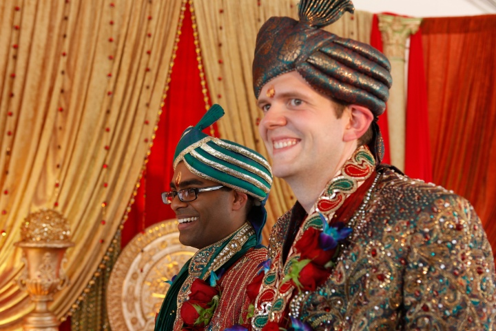 Rishi (left) and Dan married in 2011 in a traditional Hindu wedding. The couple are talking about their same-sex wedding and their individual journies in the hopes of creating awareness about LGBT issues. Supplied photo.
