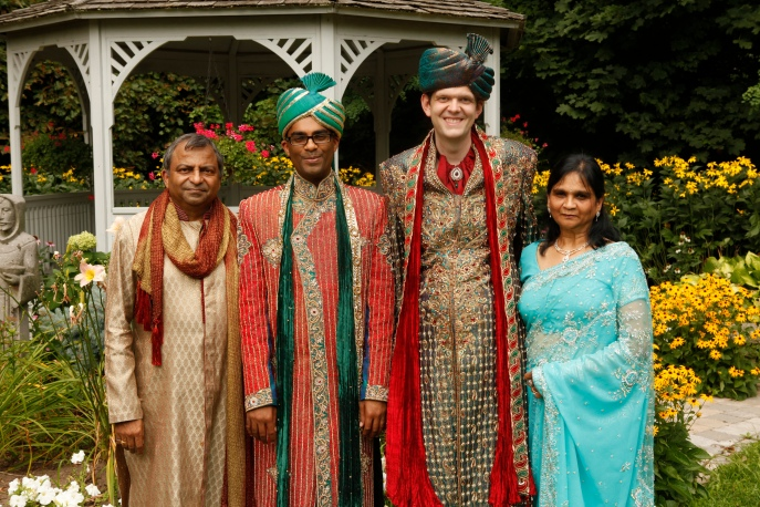 It takes a family to make a wedding memorable. From L to R: Vijay, Rishi, Dan and Sushma at the same-sex Hindu wedding of their son, Rishi with Dan. Supplied photo.