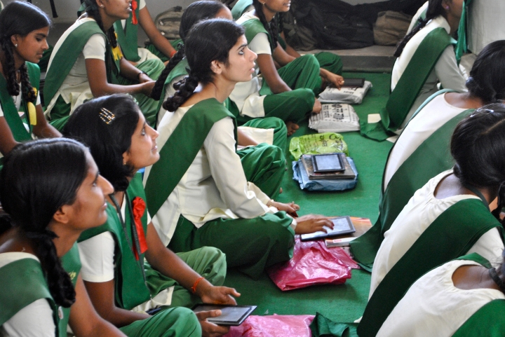 School girls in the state of Rajastan step into the digital age via Datawind's Ubislate tablet, touted to be the cheapest device in the world retailing at under $40 (CAN).