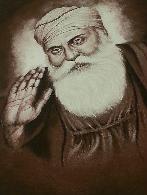Prakash captures the serenity of Shri Guru Gobind with stunning results. The image was created using powdered sand.