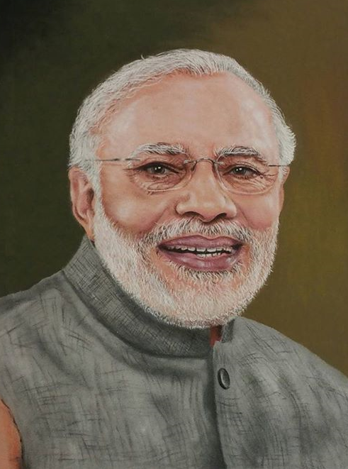 This was made using coloured sand. Bet, even NaMo will be stumped by the photograph-like effect.