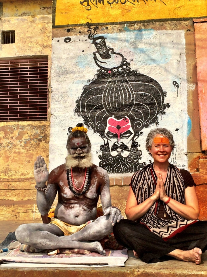 Canada's Bajrangi Behen Brenda McMorrow seen here with a ascetic on the banks of Ganges. Brenda is a mantra music artist whose music bridges the spiritualism of east with the west. Supplied photo.
