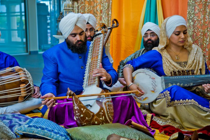 Students of Raj Academy showcase ancient musical instruments that defined Sikh spirituality. Photo by Harbriz Inc.