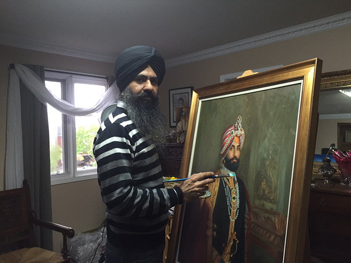 Canadian artist Kulwant Singh brings people to life in his oil and mixed media works. His exhibition, Colours of Life is happening at Beaux-Arts Brampton until June 11. Photo by Radhika Panjwani
