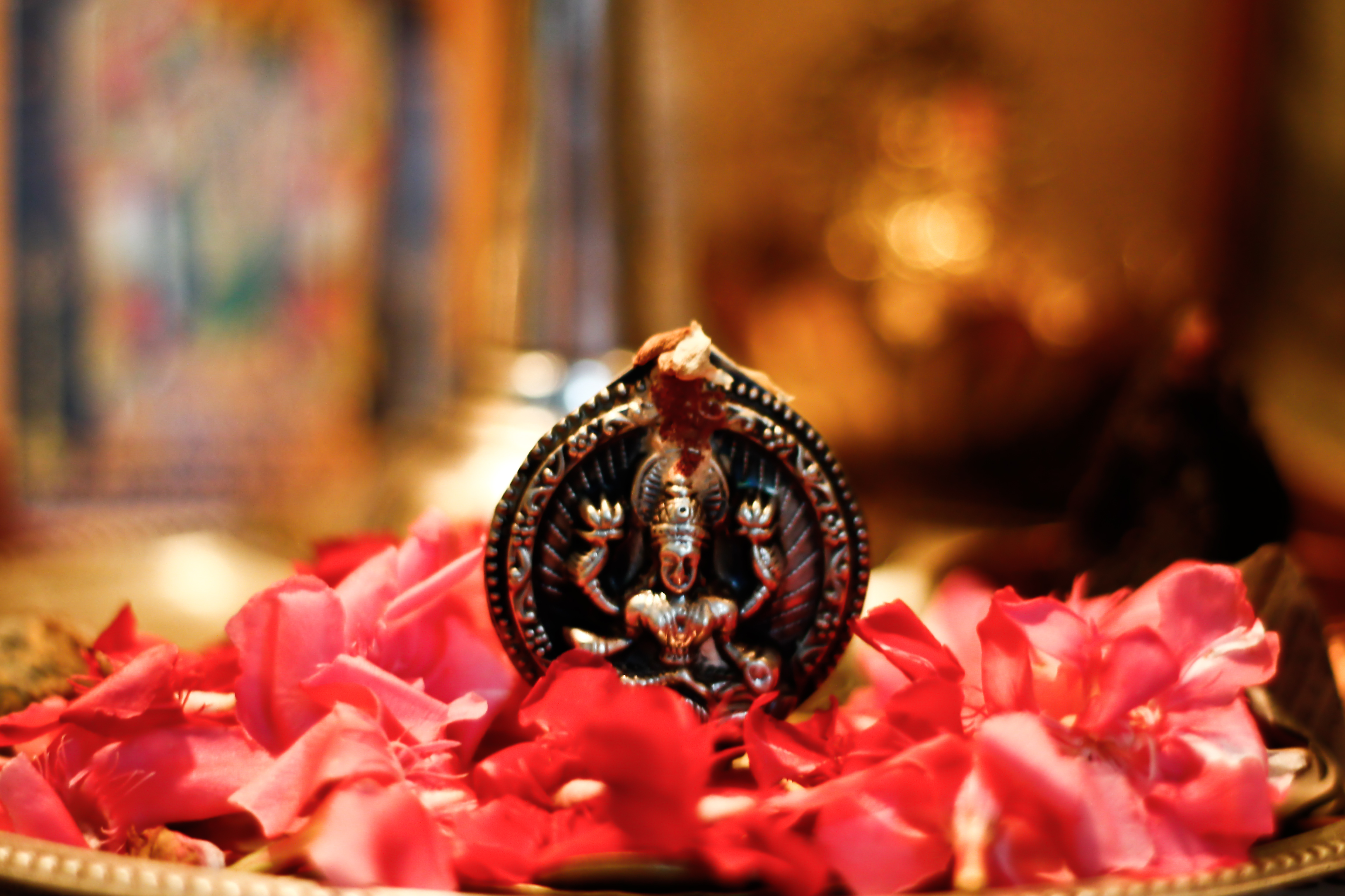 A copper idol of Goddess Lakshmi in midst of red flowers